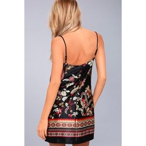 Lulu's Dresses - Traveled So Far Black Print Satin Slip Dress